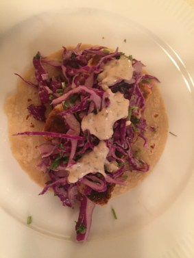 Blackened cod taco with red cabbage slaw